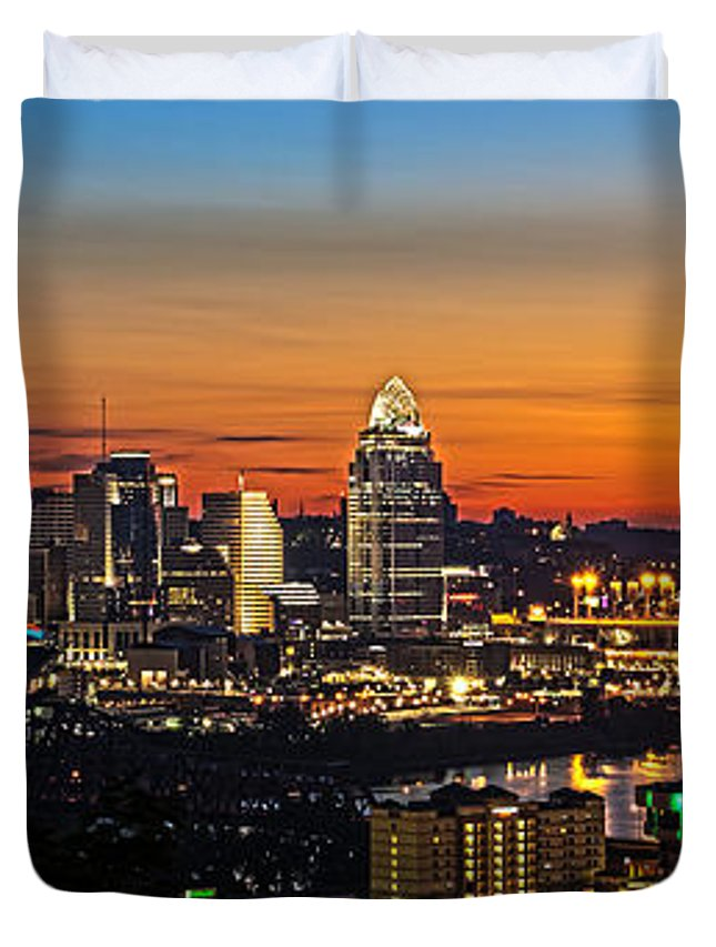 Sunrise Duvet Cover featuring the photograph Sunrise Over Cincinnati by Keith Allen