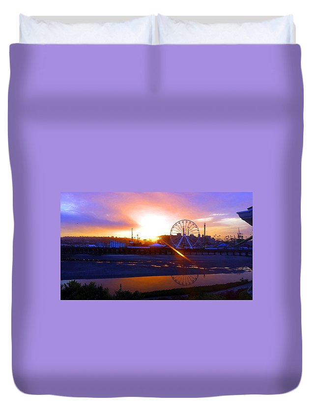 Duvet Cover featuring the photograph Sunrise Over Del Mar Fair by Kevin Grold