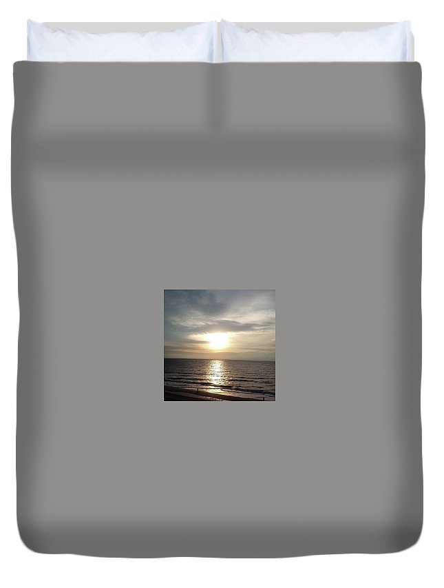 Water Duvet Cover featuring the photograph Sunrise Over Myrtle Beach, Sc by Darla Hershey