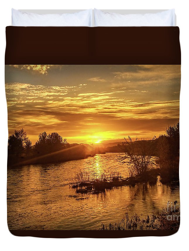 Sunrise Duvet Cover featuring the photograph Sunrise Over Payette River by Robert Bales