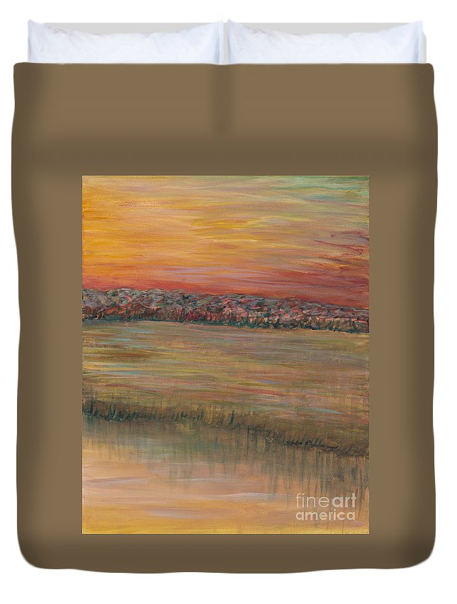 Paintings Duvet Cover featuring the painting Sunrise Over The Marsh Part II by Nadine Rippelmeyer