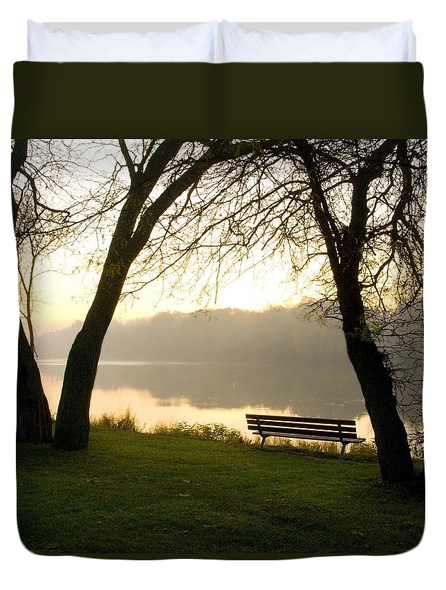 Sunrise Duvet Cover featuring the photograph Sunrise Over The Maumee by Jeffery Ball