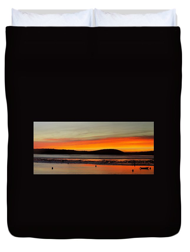 Sunrise Duvet Cover featuring the photograph Sunrise, Padstow by Drunkn Jim