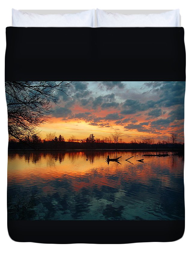 Trees Duvet Cover featuring the photograph Sunrise Reflection by Robert Coffey