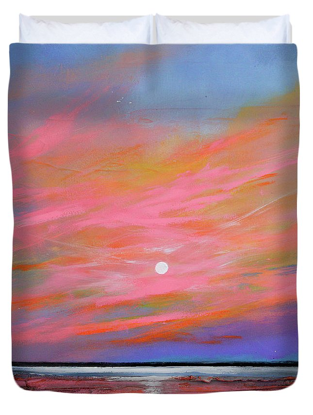 Sunrise Duvet Cover featuring the painting Sunrise Sail by Toni Grote