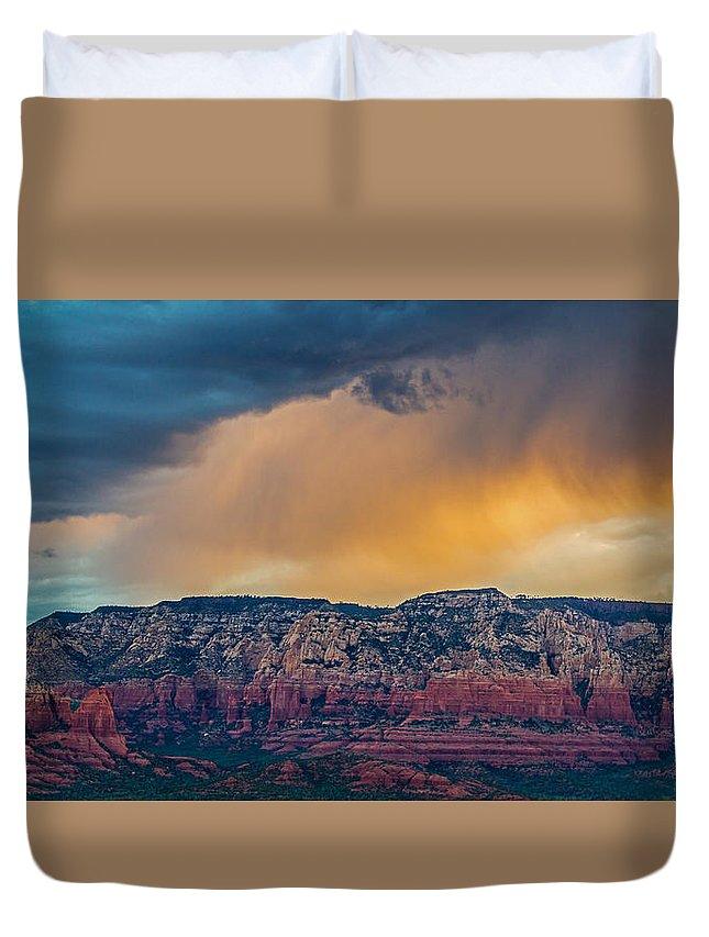 Sunrise Duvet Cover featuring the photograph Sunrise Storm Over Sedona by Susan Westervelt
