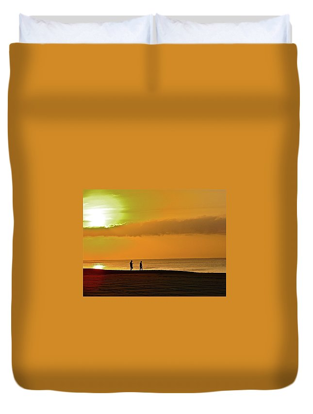 Beach Duvet Cover featuring the photograph Sunrise Stroll by Diana Hatcher