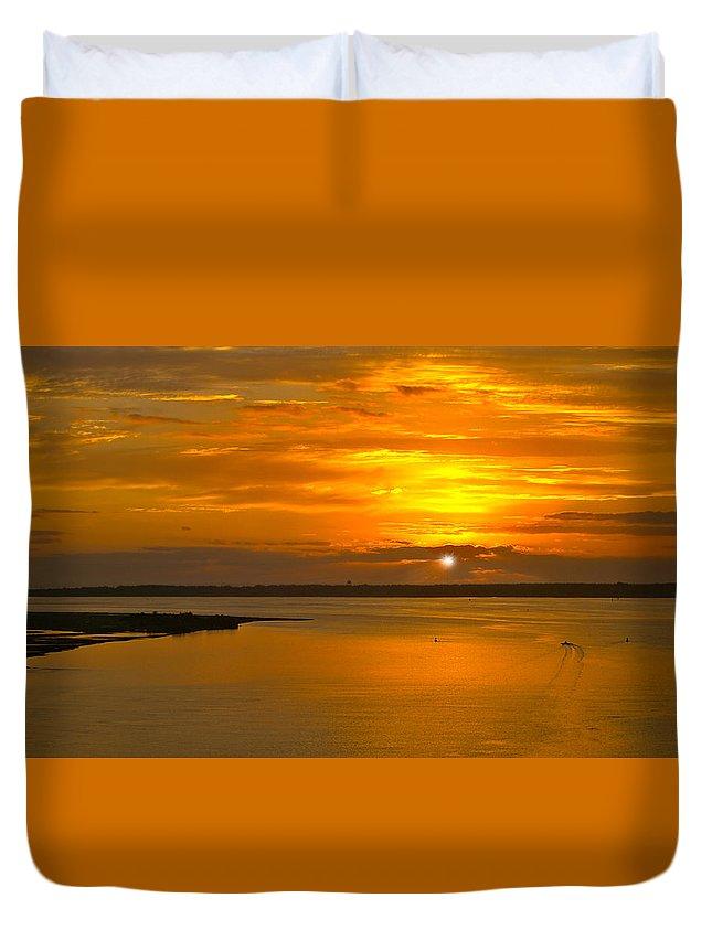 Sunrise Duvet Cover featuring the photograph Sunrise Summit by Laura Ragland