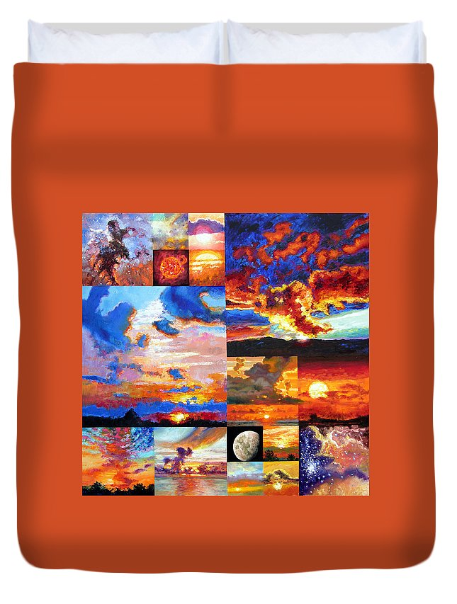 Sunrise Duvet Cover featuring the painting Sunrise Sunset Sunrise by John Lautermilch