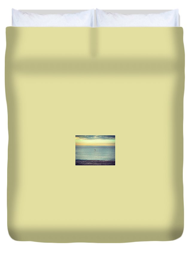 Sunrise Duvet Cover featuring the photograph Sunrise Surfing by Rossana Azzoni