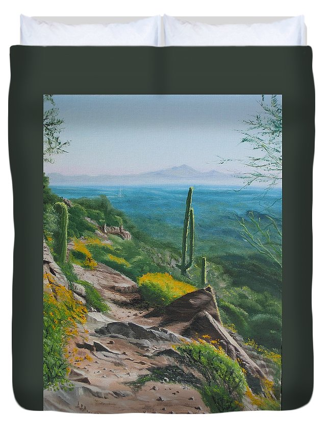 Landscape Duvet Cover featuring the painting Sunrise Trail by Lea Novak