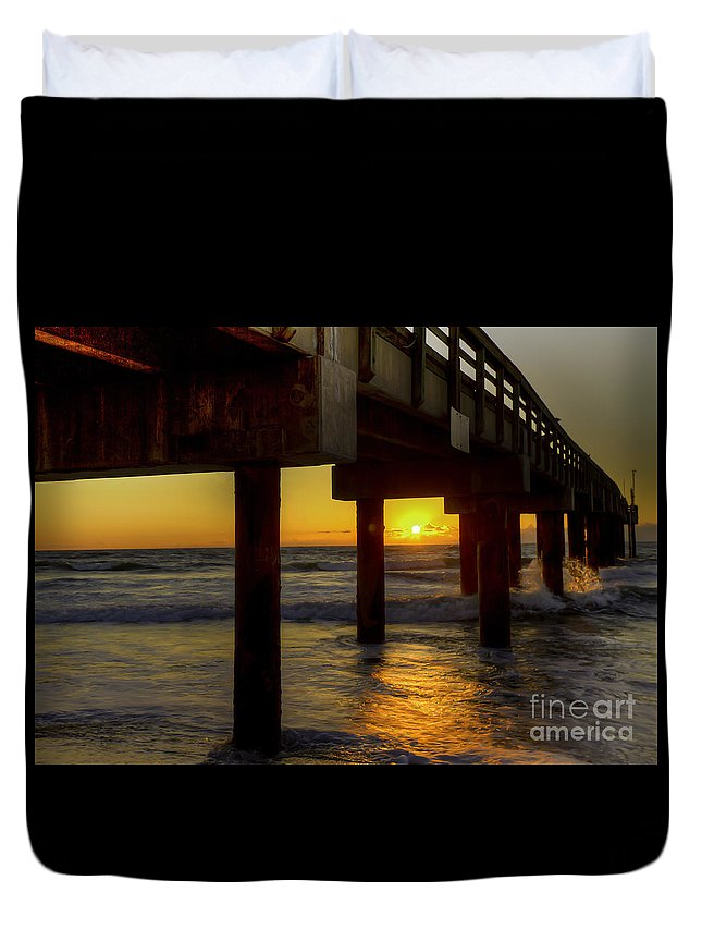Pier Duvet Cover featuring the photograph Sunrise Under The Pier by Tress Chapin