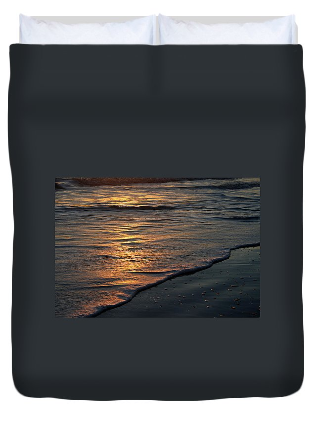 Ocean Beach Sun Sunrise Reflection Wave Tide Bright Orange Gold Water Vacation Duvet Cover featuring the photograph Sunrise Waves by Andrei Shliakhau