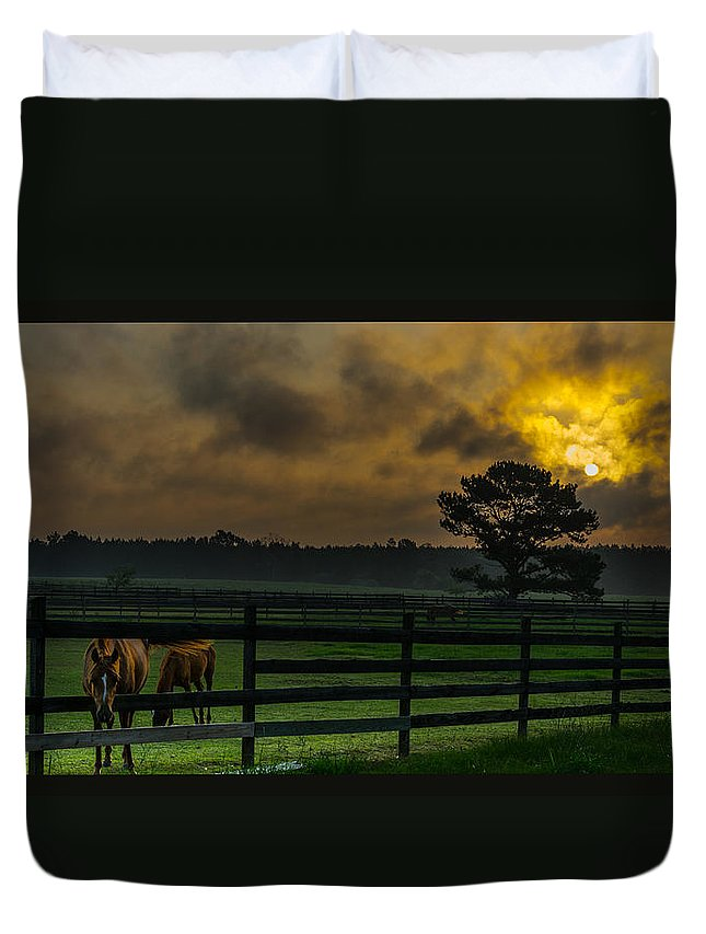 Sunrise Duvet Cover featuring the photograph Sunrise With Horses by James Hennis