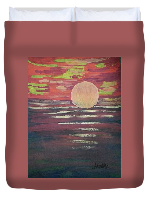 Sunset Duvet Cover featuring the painting Sunset-3 by Marialyn Laganza