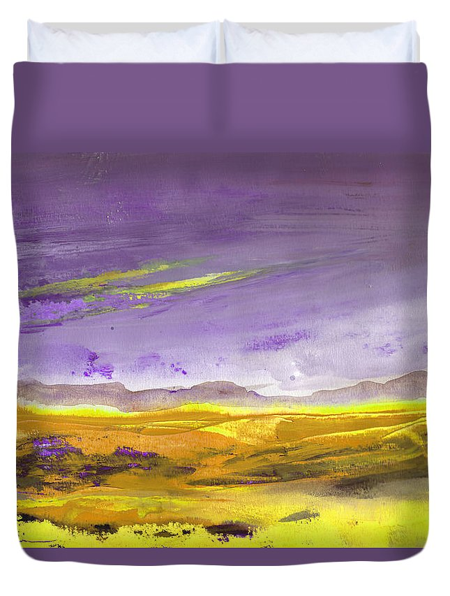 Landscapes Duvet Cover featuring the painting Sunset 30 by Miki De Goodaboom