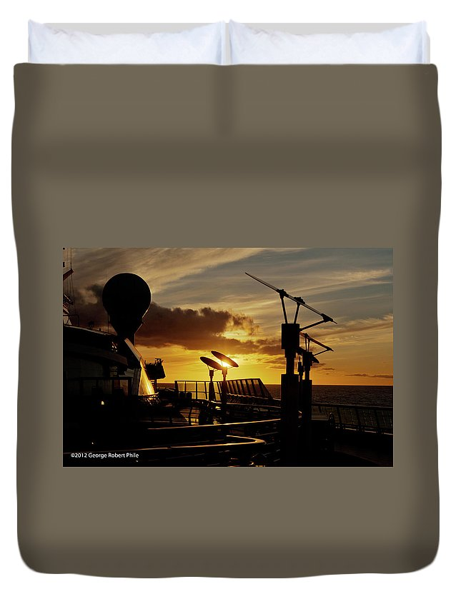 Cloud Duvet Cover featuring the photograph Sunset - 39 by George Phile