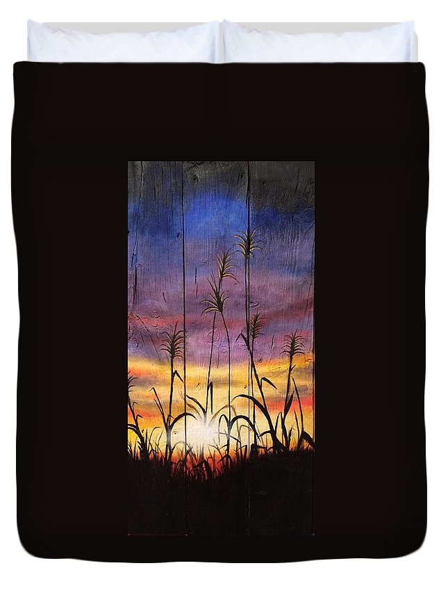 Sunset Duvet Cover featuring the painting Sunset by Alicia Doerksen