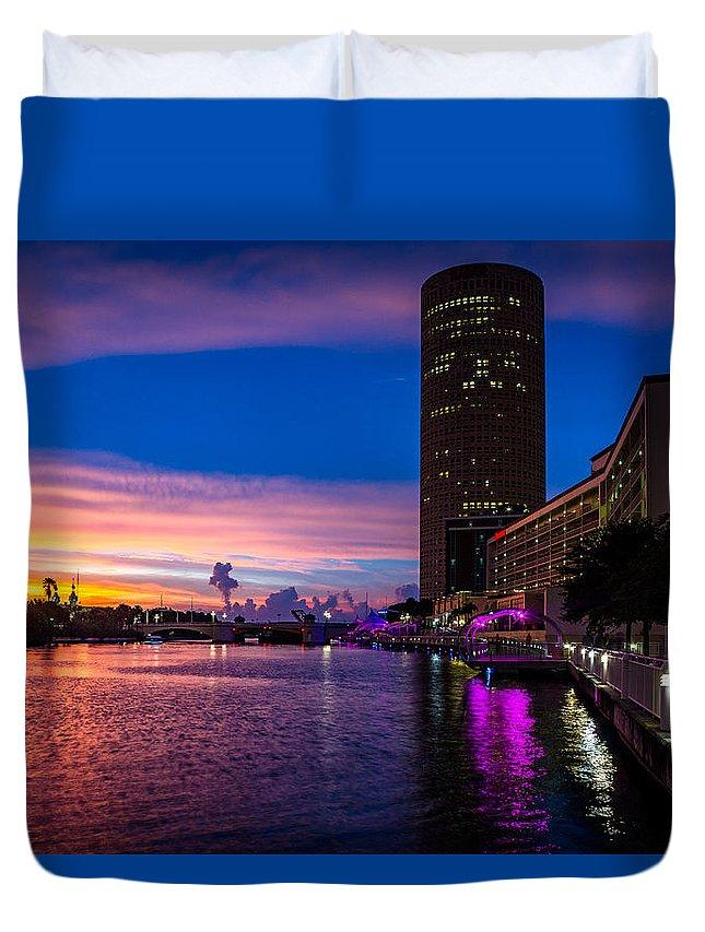 Sunset Duvet Cover featuring the photograph Sunset Along The Riverwalk by Josh Herrington