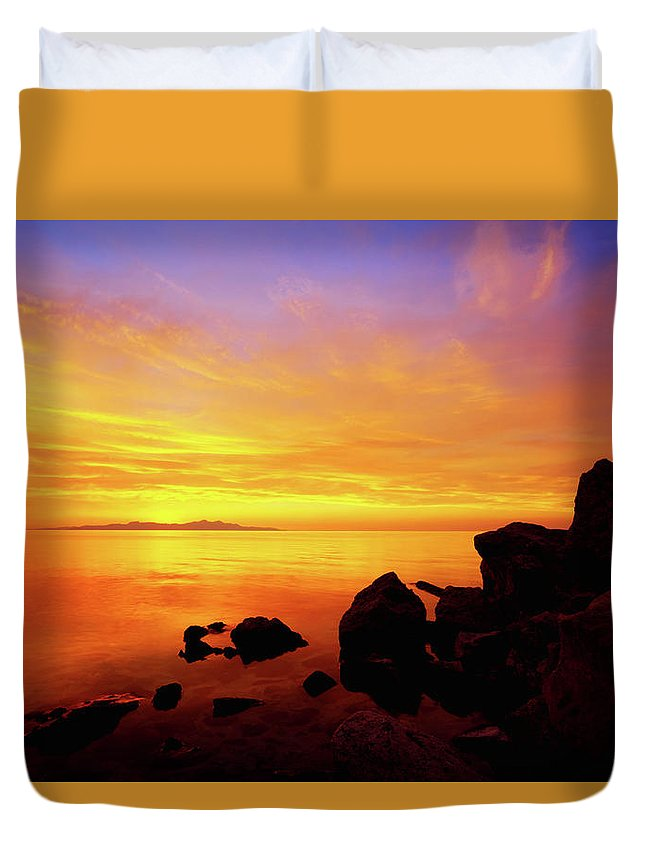 Sunset And Fire Duvet Cover featuring the photograph Sunset And Fire by Chad Dutson