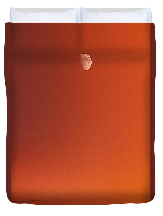 Above Duvet Cover featuring the photograph Sunset And Half Moon by Carl Shaneff - Printscapes