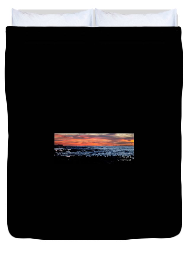 Sunset Duvet Cover featuring the photograph Sunset And Rocks by Samantha Glaze