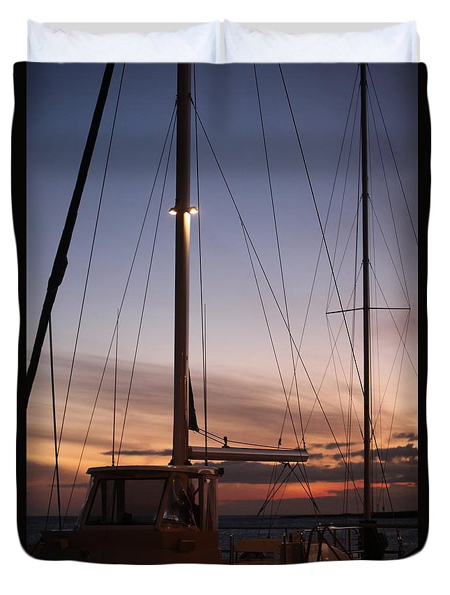 Sunset Duvet Cover featuring the photograph Sunset And Sailboat by Nadine Rippelmeyer