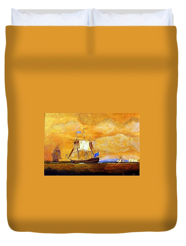 Sunset Duvet Cover featuring the painting Sunset And Ships by Richard Le Page