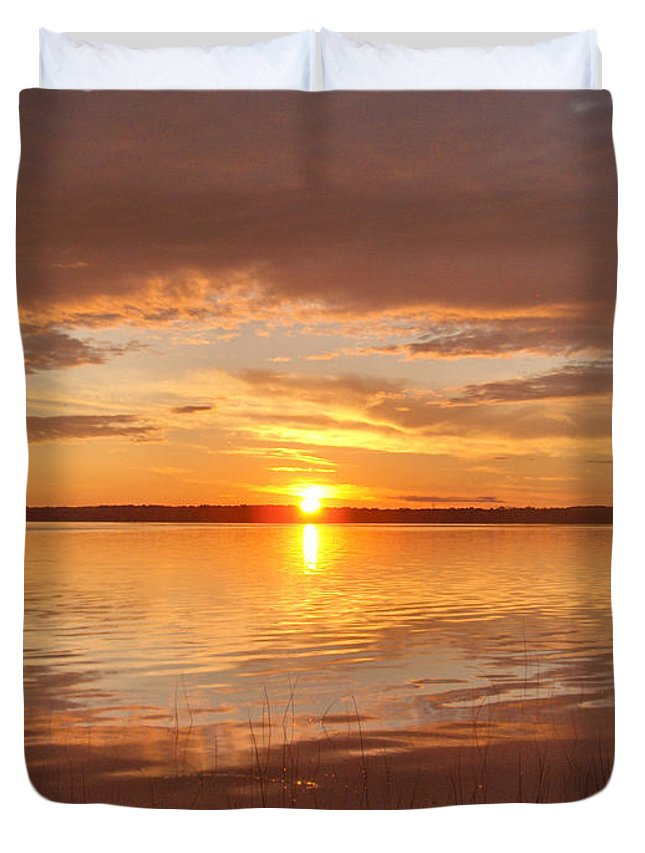 Lake Water Shore Reeds Beach Sunset Sky Duvet Cover featuring the photograph Sunset by Andrea Lawrence