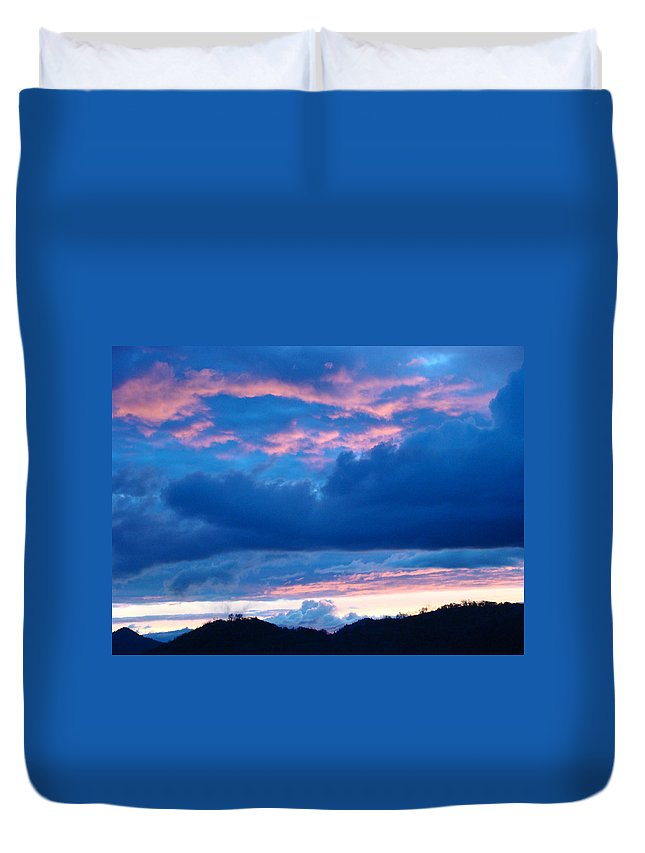 Sunset Duvet Cover featuring the photograph Sunset Art Print Blue Twilight Clouds Pink Glowing Light Over Mountains by Baslee Troutman