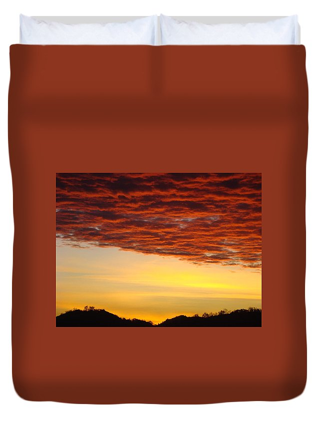 Sunset Duvet Cover featuring the photograph Sunset Art Prints Canvas Orange Clouds Twilight Sky Baslee Troutman by Baslee Troutman