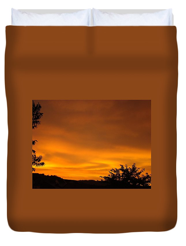 Sunset Duvet Cover featuring the photograph Sunset Art Prints Orange Glowing Western Sunset Baslee Troutman by Baslee Troutman