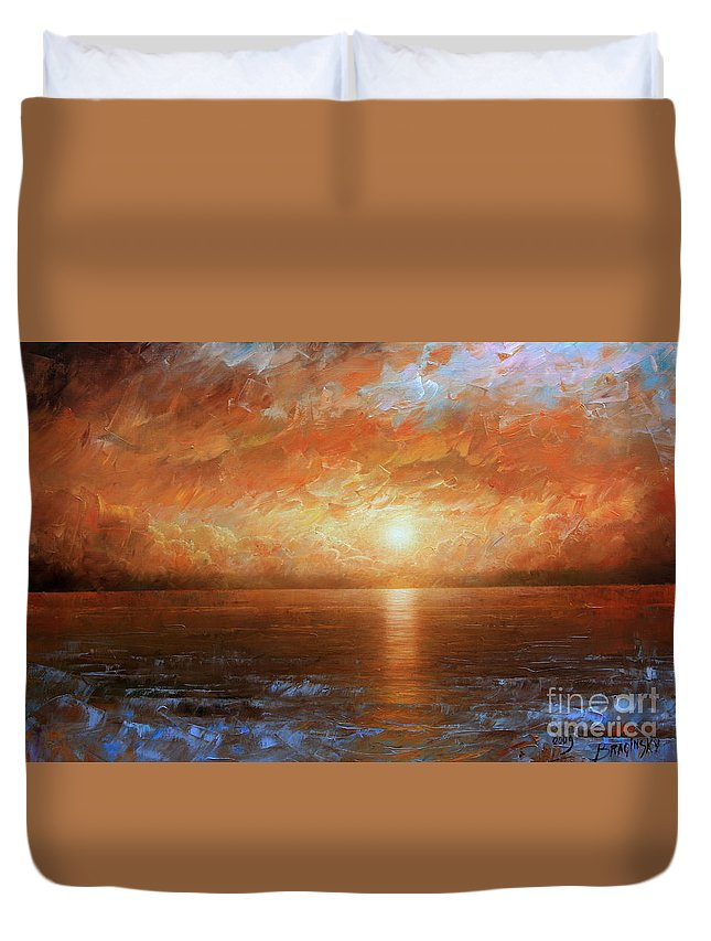 Landscape Duvet Cover featuring the painting Sunset by Arthur Braginsky