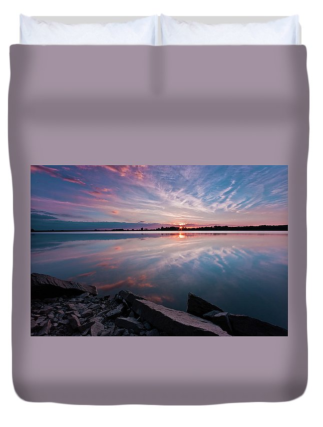 Sunrise Duvet Cover featuring the photograph Sunset at Anglezarke Reservoir #1, Rivington, Lancashire, North West England by Anthony Lawlor