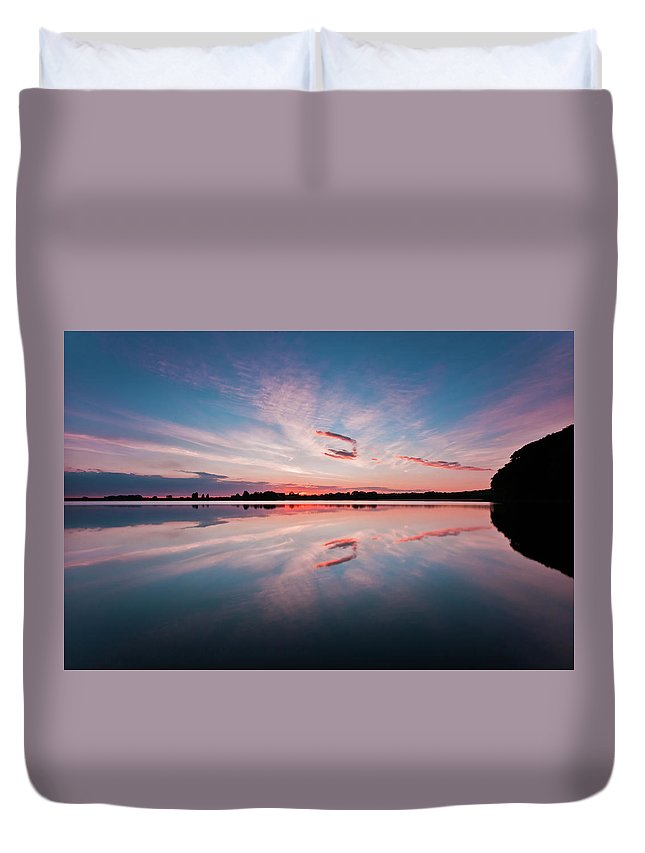 Sunrise Duvet Cover featuring the photograph Sunset at Anglezarke Reservoir #3, Rivington, Lancashire, North West England by Anthony Lawlor