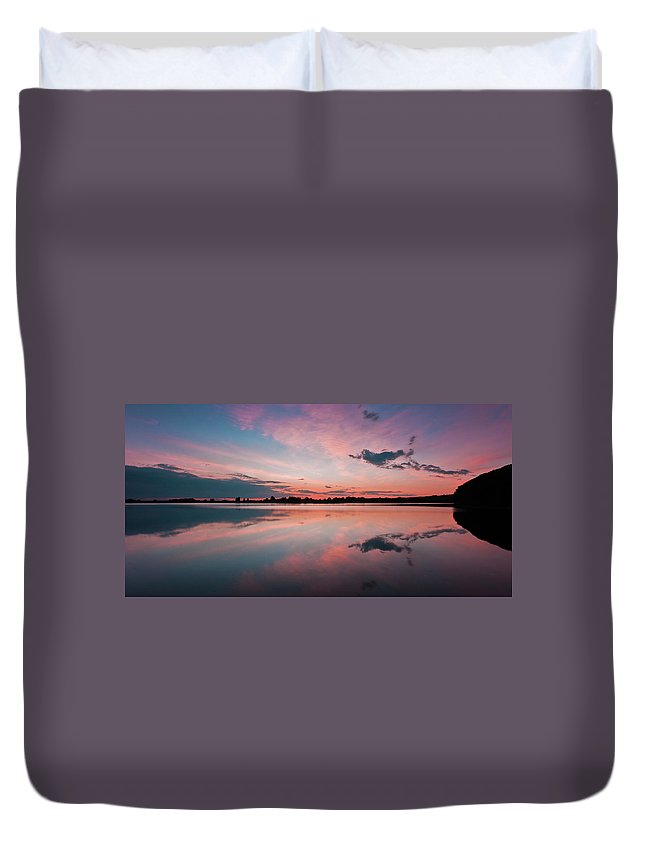Sunrise Duvet Cover featuring the photograph Sunset at Anglezarke Reservoir #4, Rivington, Lancashire, North West England by Anthony Lawlor