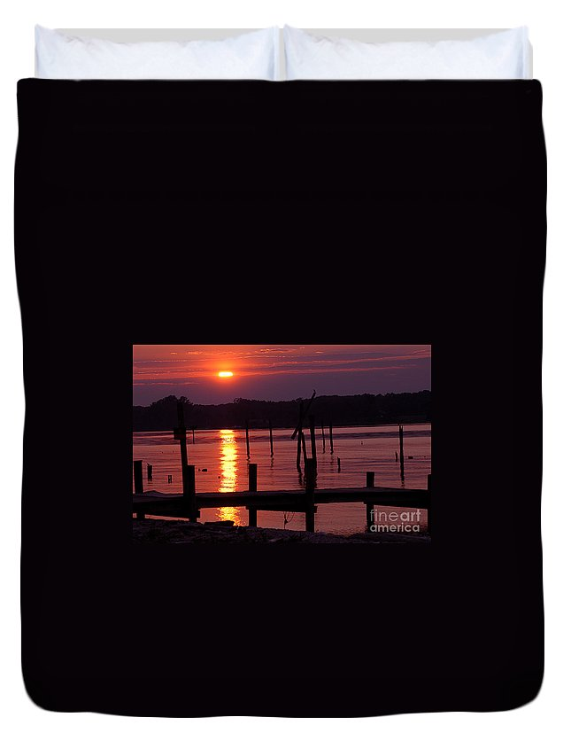Clay Duvet Cover featuring the photograph Sunset At Colonial Beach by Clayton Bruster