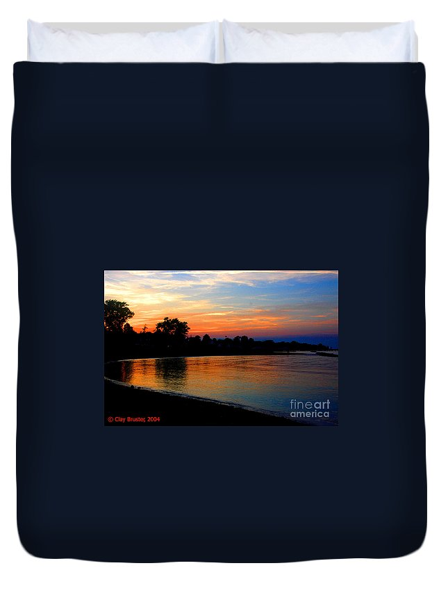 Clay Duvet Cover featuring the photograph Sunset At Colonial Beach Cove by Clayton Bruster