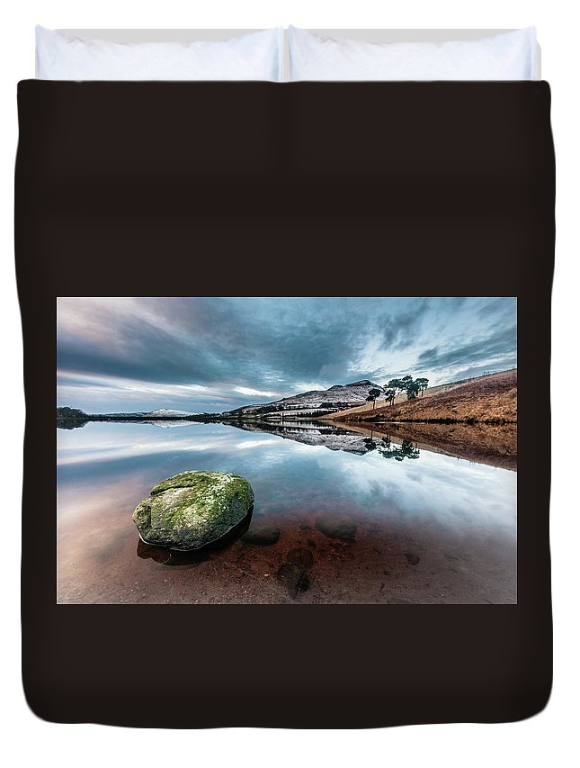 Sunset Duvet Cover featuring the photograph Sunset at Dovestone Reservoir, Greater Manchester, North West England by Anthony Lawlor