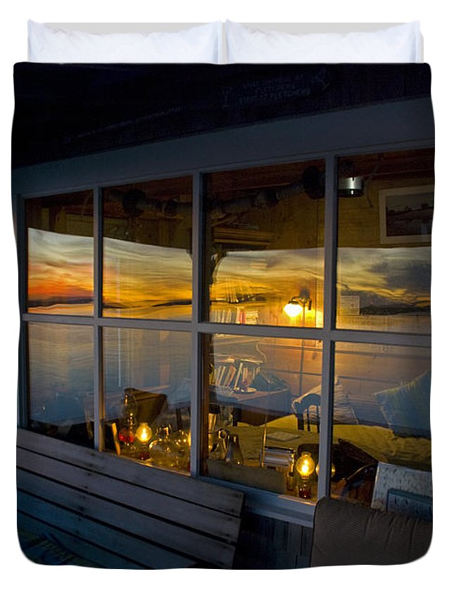 Sunset Duvet Cover featuring the photograph Sunset At Fletchers Camp by Charles Harden