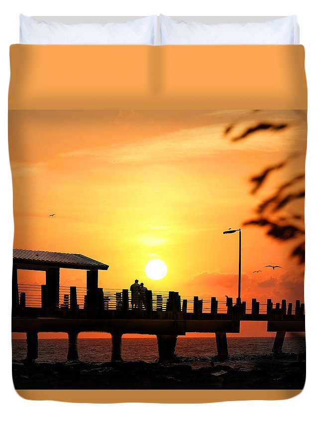 Fort De Soto Duvet Cover featuring the photograph Sunset At Fort De Soto Fishing Pier Pinellas County Park St. Petersburg Florida by Mal Bray