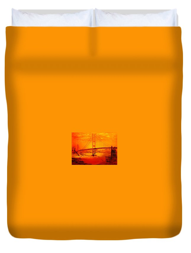Sunset At Golden Gate Duvet Cover featuring the painting Sunset At Golden Gate by Helmut Rottler