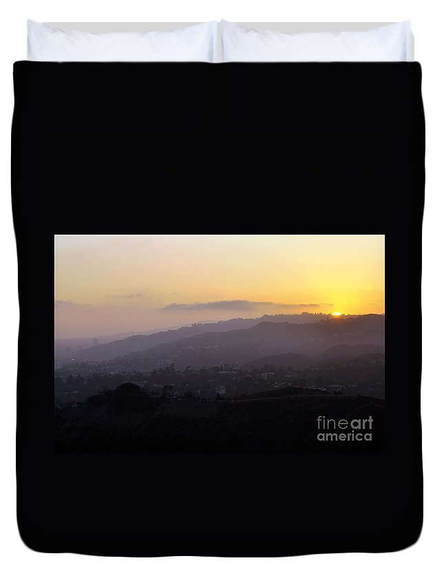 Clay Duvet Cover featuring the photograph Sunset At Griffeth Observatory by Clayton Bruster