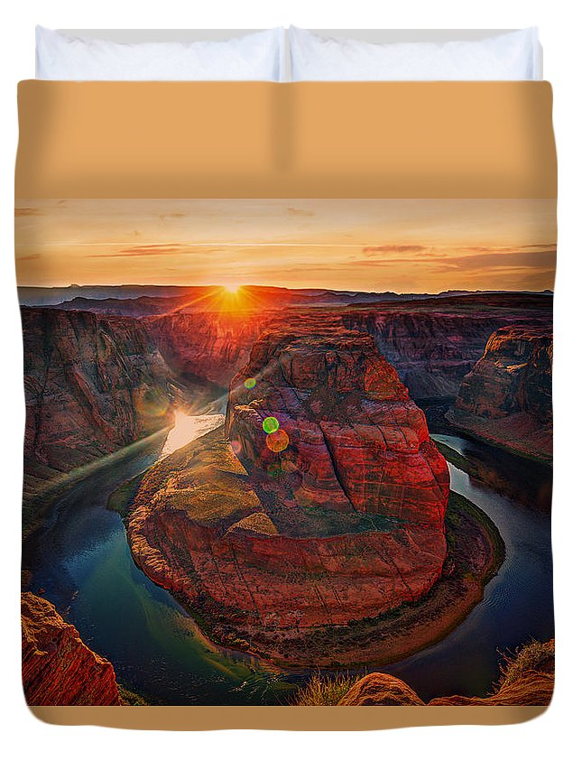 Arizona Duvet Cover featuring the photograph Sunset At Horseshoe Bend by Paul Sommers