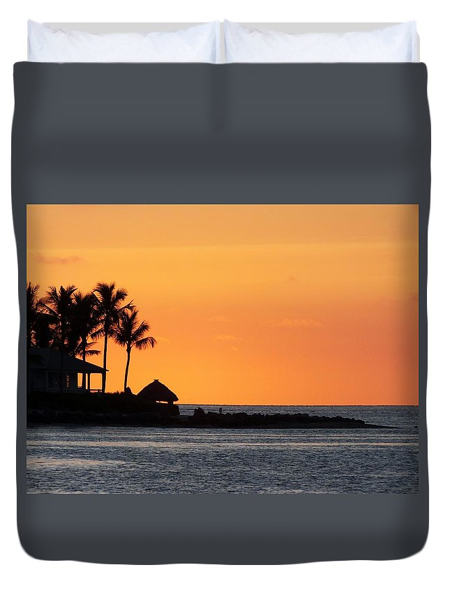 Sunset Duvet Cover featuring the photograph Sunset At Key West by Sheli Kesteloot