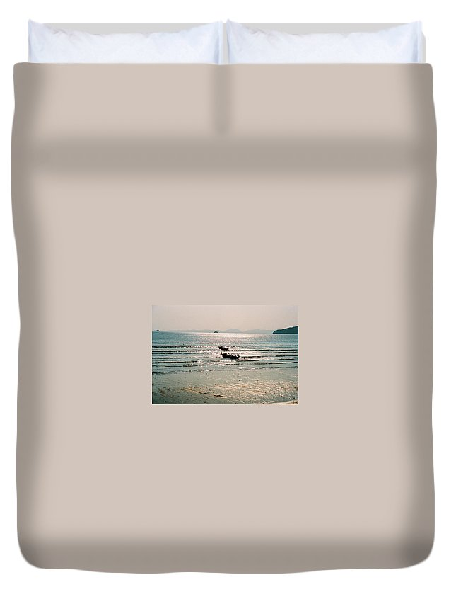 Sea Duvet Cover featuring the photograph Sunset At Krabi by Mary Rogers
