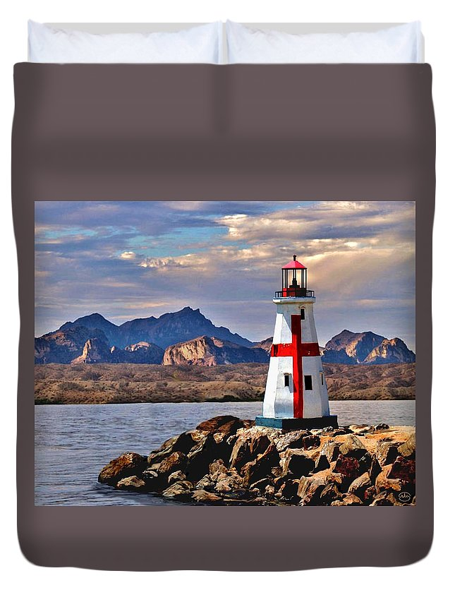View Love Lighthouse Light House Mountain Scape Landscape Lake Havasu Sunset Twilight Ocean Sea Inland Clouds Cross Seaside Waves Art The Of To And A In Is It You He Was For On Are As I His Be One Or Had By We Can All Up An She Do If So Her With That They Have But Were Then Word Make Like Our Rkc Ron Ronald K Chambers  Duvet Cover featuring the painting Sunset at Lake Havasu by Ron Chambers