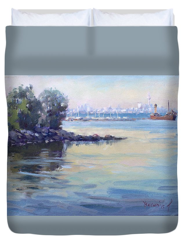 Sunset Duvet Cover featuring the painting Sunset At Lake Ontario by Ylli Haruni