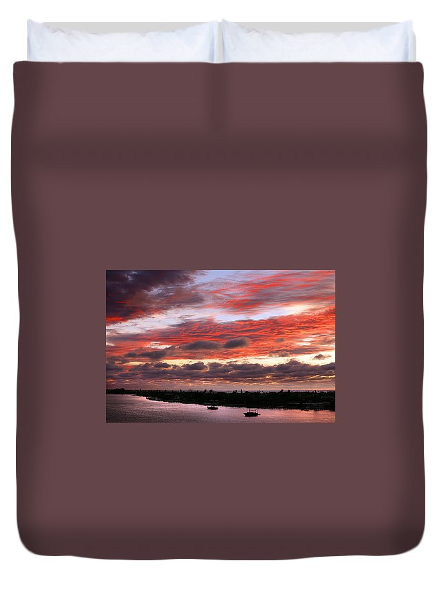 Sun Duvet Cover featuring the photograph Sunset At Pass A Grille Florida by Mal Bray
