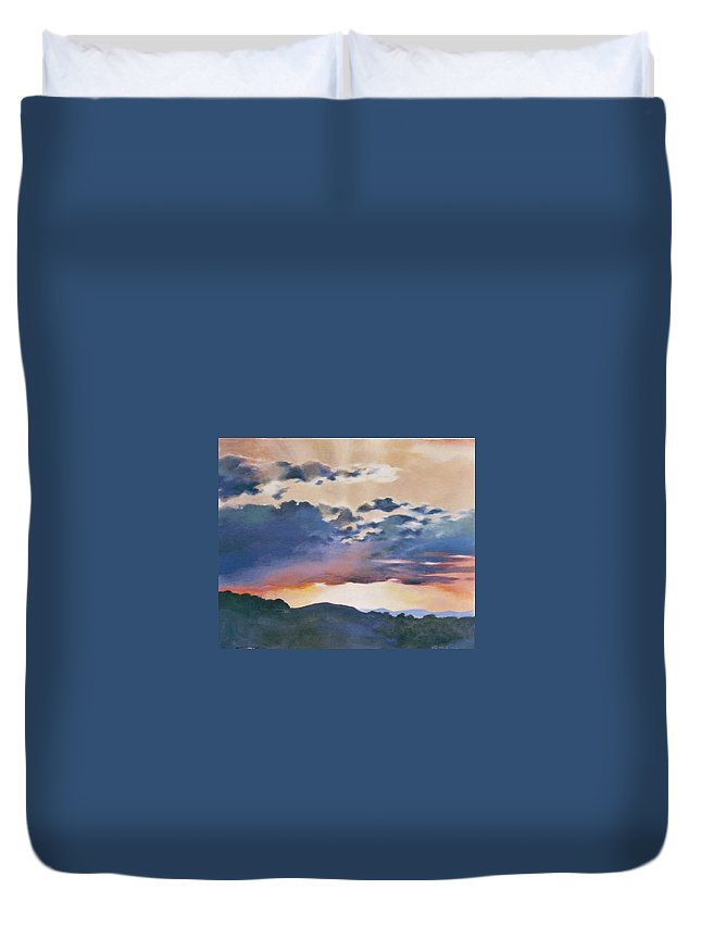 Sunset Duvet Cover featuring the painting Sunset At Quialigo by Ekaterina Mortensen